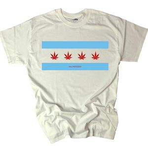 Chicago Flag Tee with Canna Leaves!
